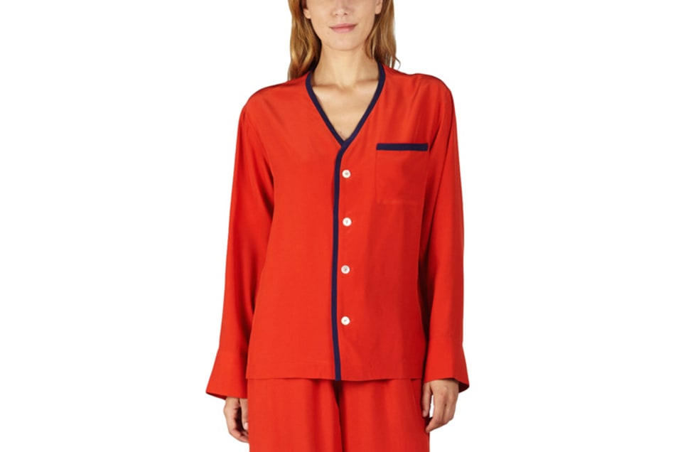 【SLEEPY JONES】BETTINA SILK CARDIGAN & PANT SET -SILK CHARMEUSE RED
