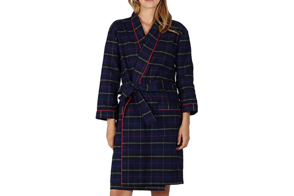 【SLEEPY JONES】ISA ROBE - FLANNEL PLAID NAVY