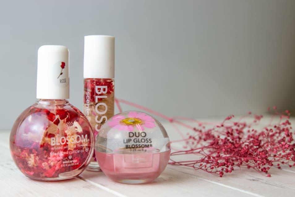 【BLOSSOM】ネイルオイルフラワー リップグロス デュオリップグロス 3点セット-pink