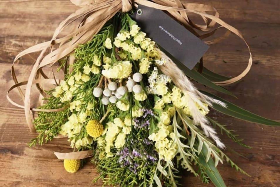 【hitohana】《季節の花:春》 スターチス スワッグ(イエロー系) Sサイズ