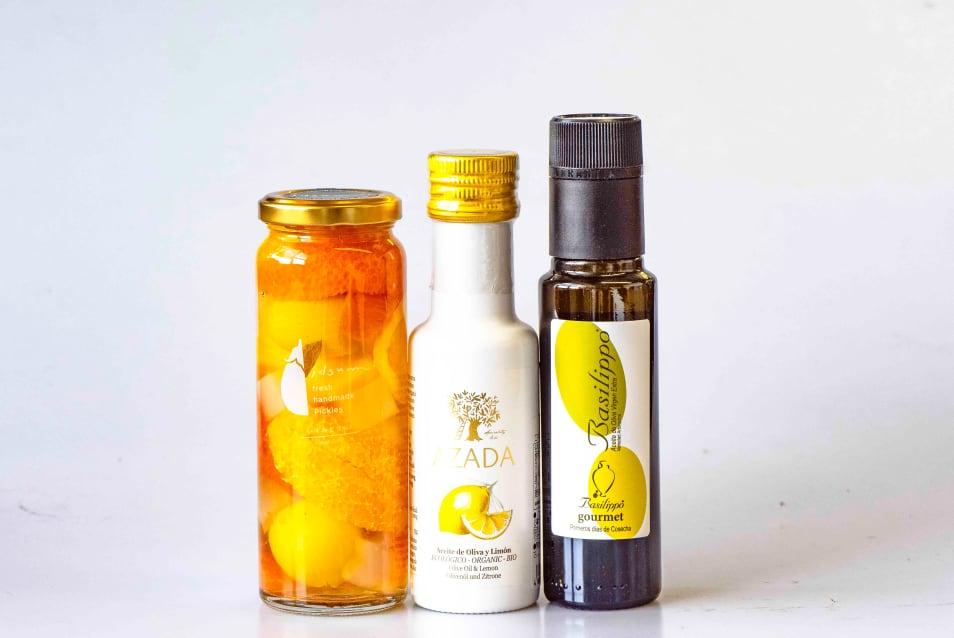 エキストラヴァージンオリーブオイル、EUオーガニック エキストラヴァージンオリーブオイル・レモン・国産フルーツピクルス 3種ギフトセット