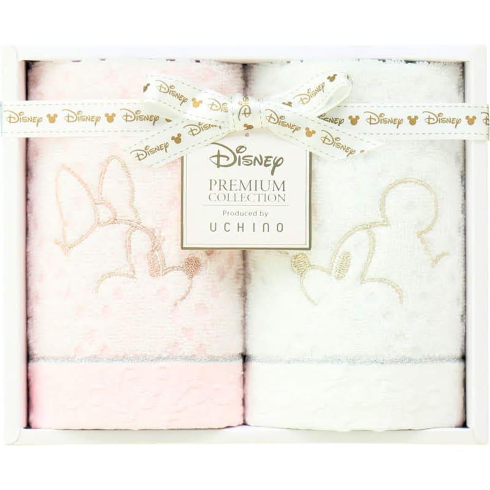 【Disney】ホワイトハピネス フェイスタオル2P