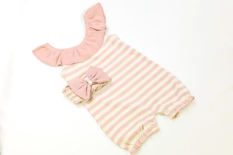 【L'oved baby】ストライプ ア ポーズ ロンパースセット