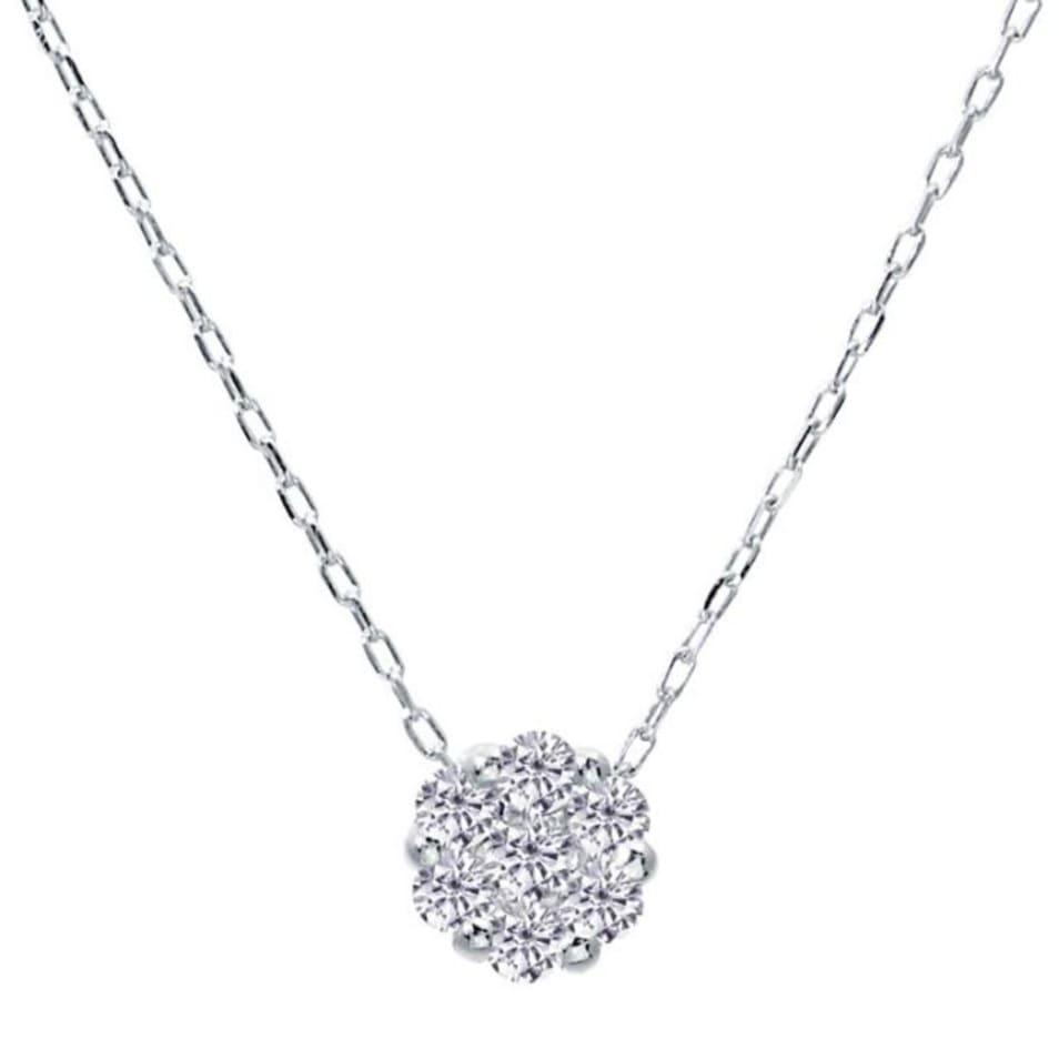 1粒 ダイヤモンド 0.1ct ダリア フラワー ネックレス プラチナ Pt900 ララクリスティー