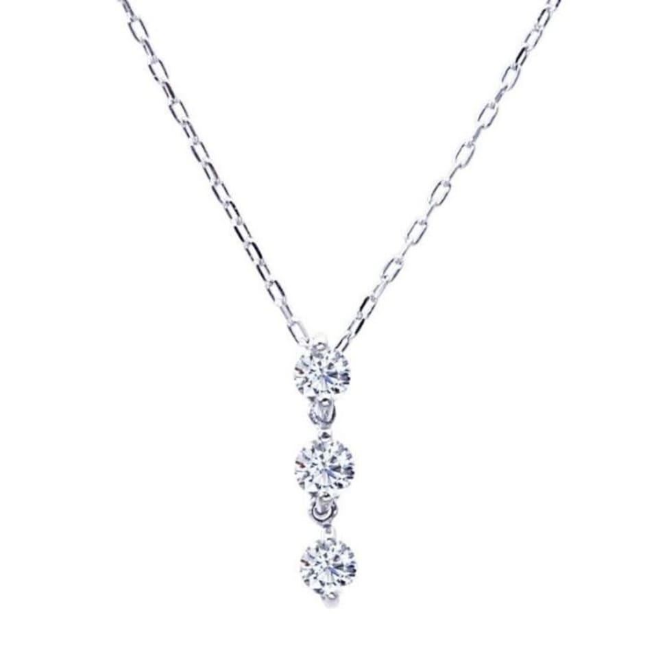 ダイヤモンド 0.1ct トリロジー ネックレス プラチナ Pt900 ララクリスティー