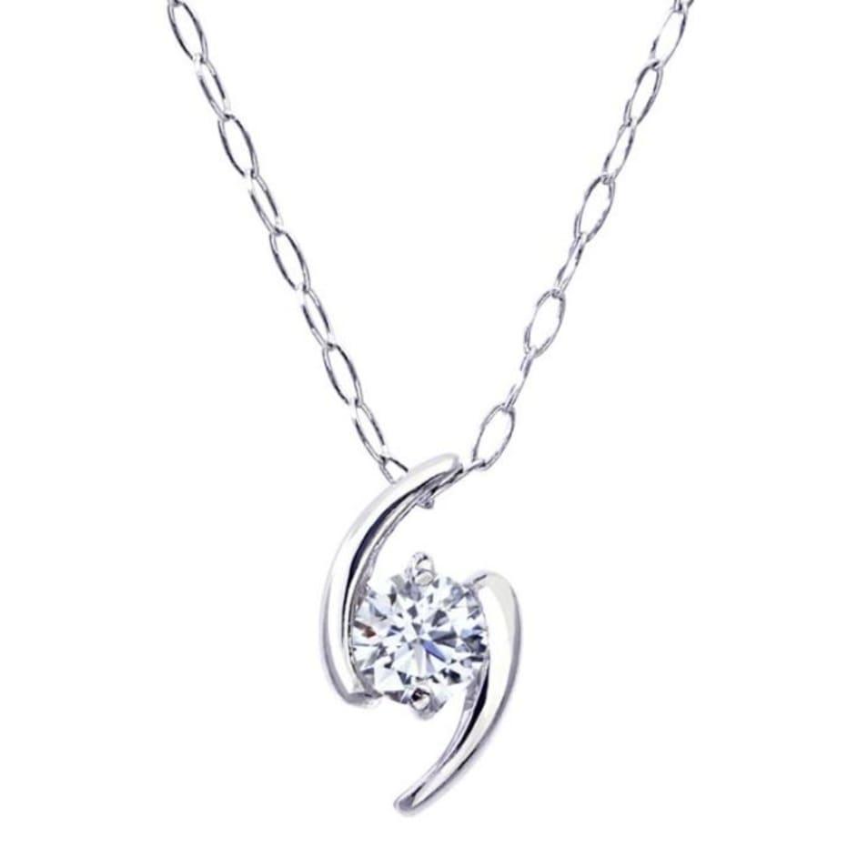 1粒 ダイヤモンド 0.1ct サターン ネックレス プラチナ Pt900 ララクリスティー