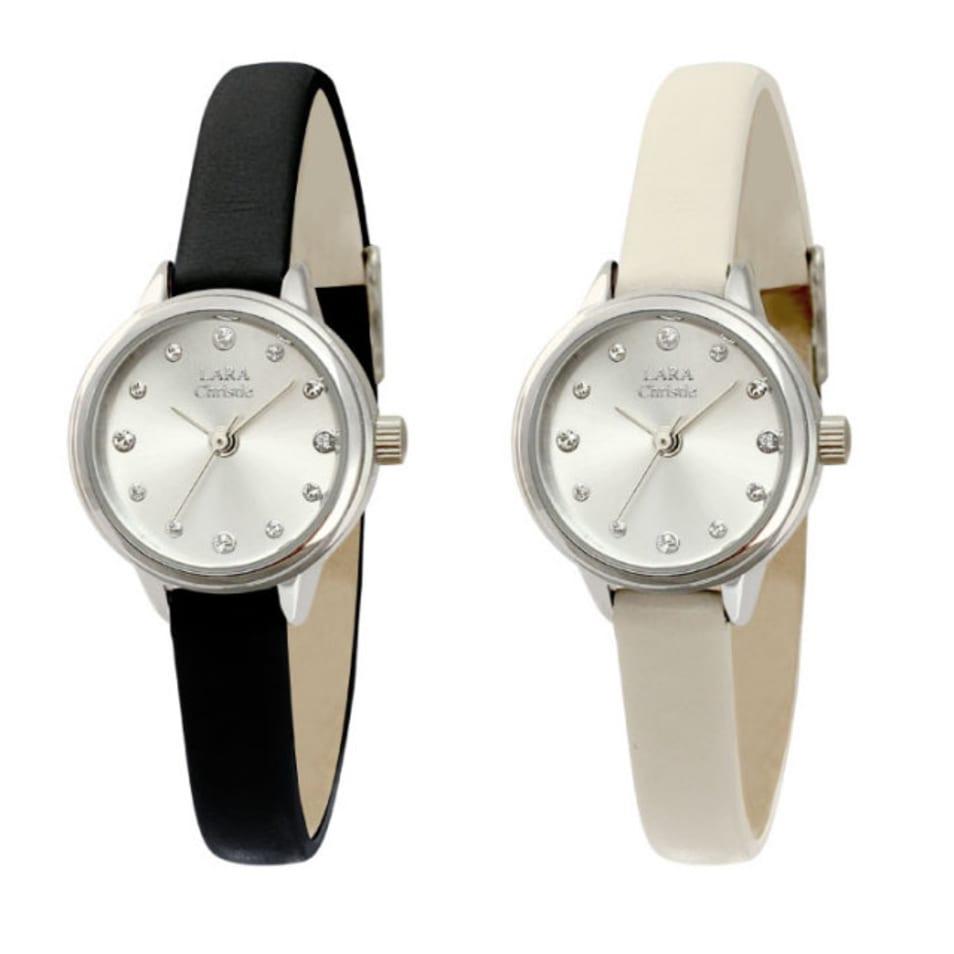 時計の数字の部分にクリスタルが12石付いている腕時計です。