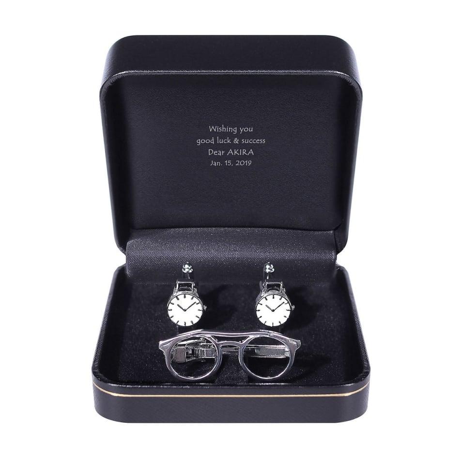 タイピン&カフスセット  メガネと腕時計