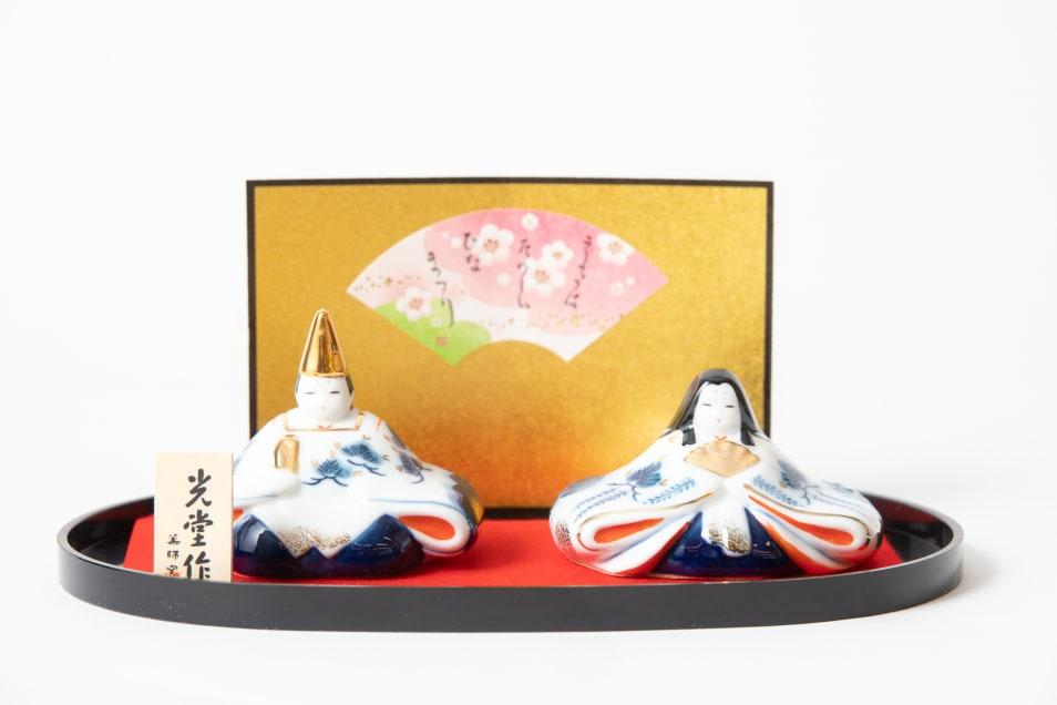 陶製の雛人形 【染錦 睦雛】