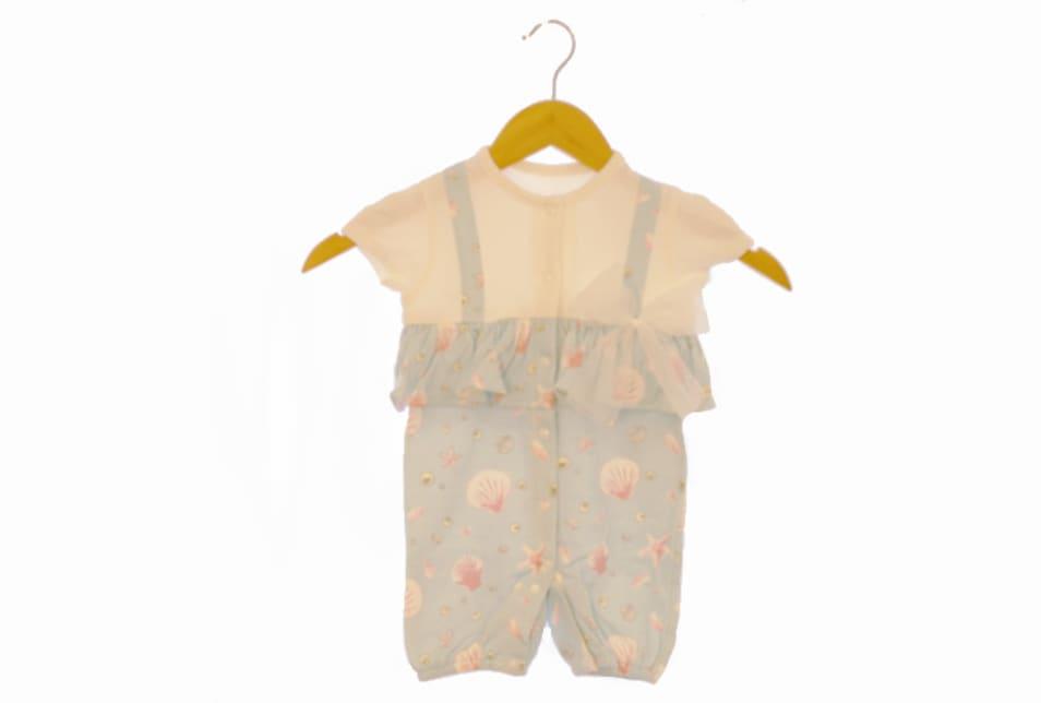 【haruulala】女の子出産祝い スタイ&半袖2wayカバーオール