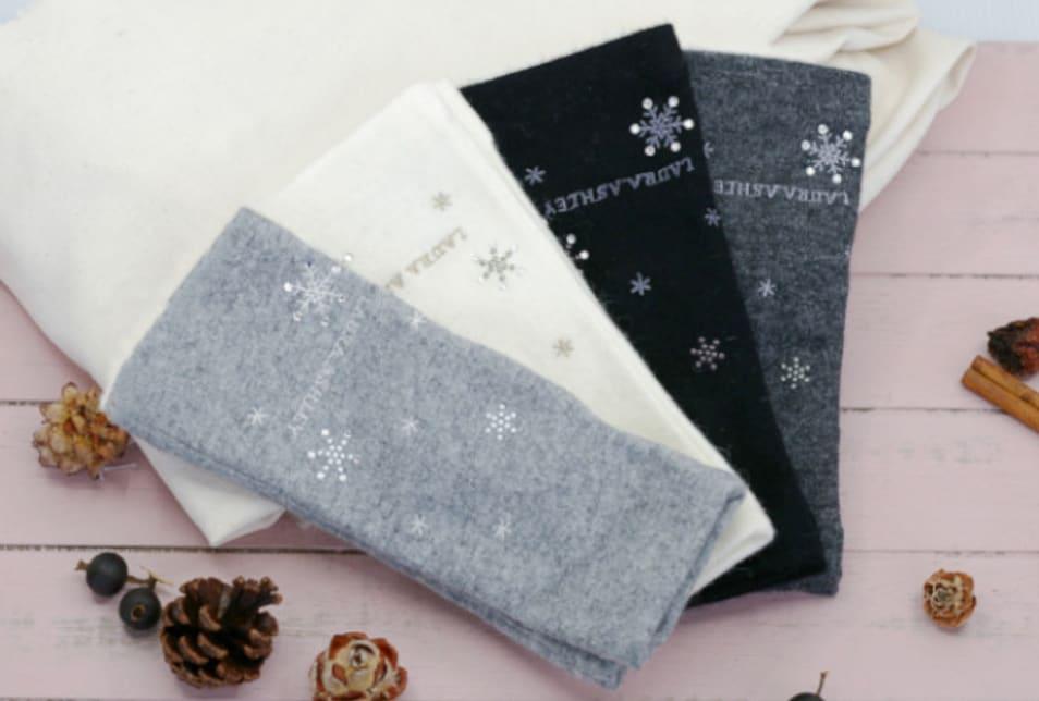 【LAURA ASHLEY】雪柄フィンガーレス手袋