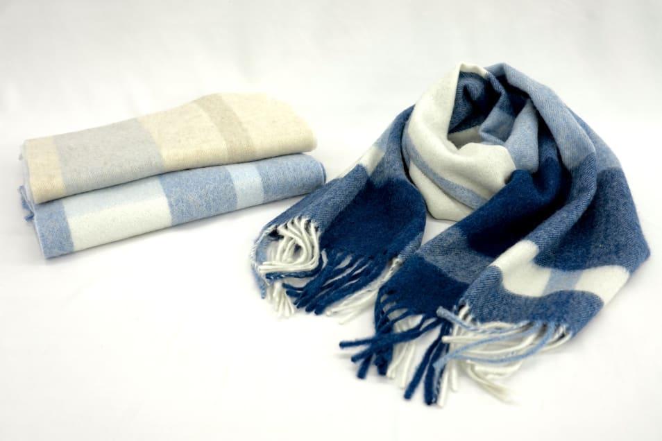 【Luna Luce Roca】カシミヤ100%紡毛チェックマフラー(30×190cm)
