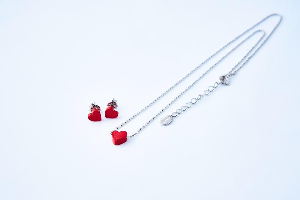 【Lanterna】Paint Heart Necklace & Posts