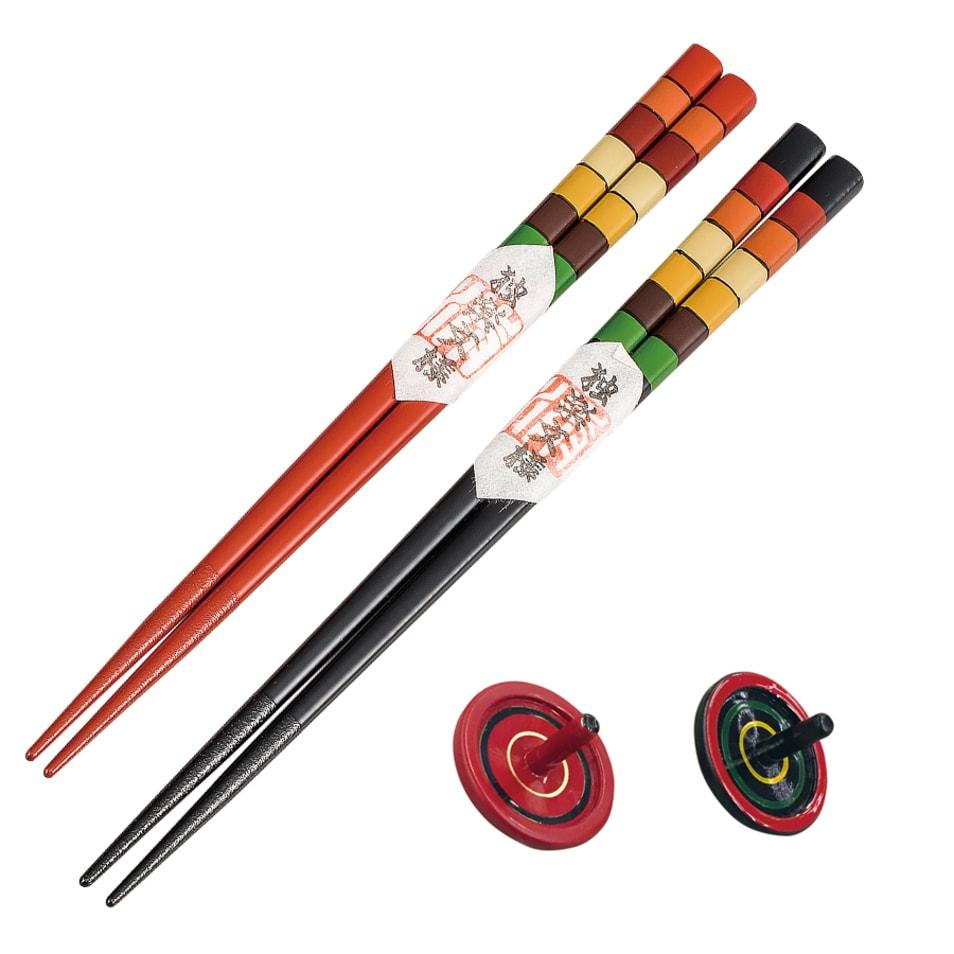 夫婦箸セット 独楽模様 コマ箸置付 赤・黒