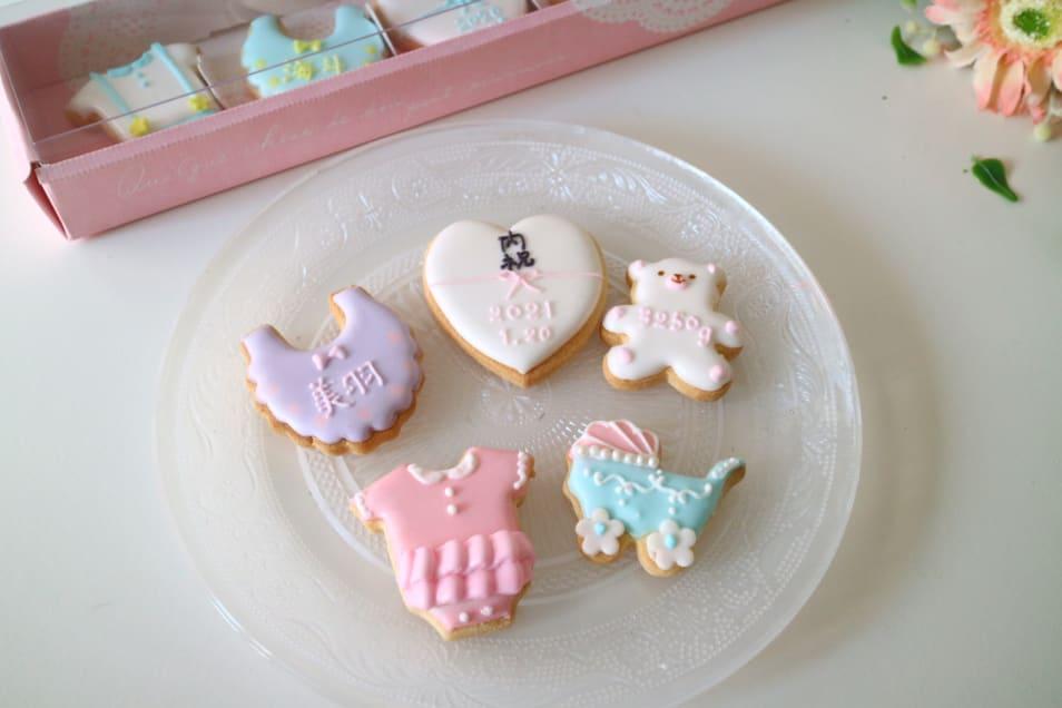 名入れ 内祝いアイシングクッキー 女の子 5枚入