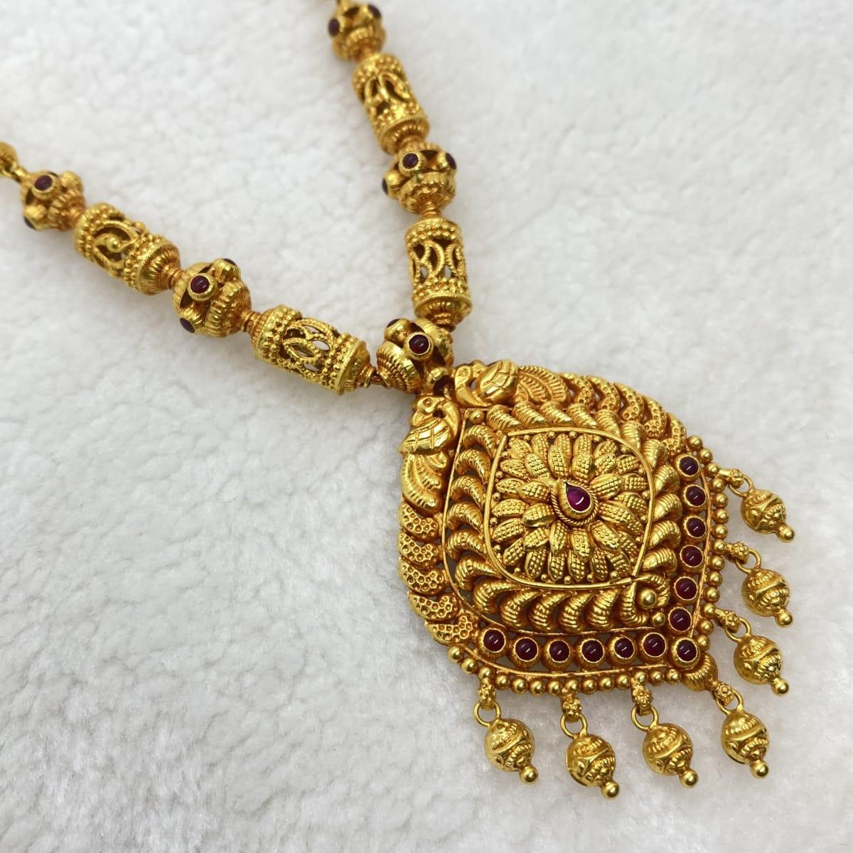 Fancy Antique Gold Design Beed Necklace Gj0024