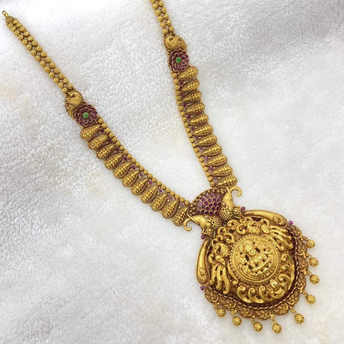 Long Black Oxidised Antique Lakshmi Haram Gj0014