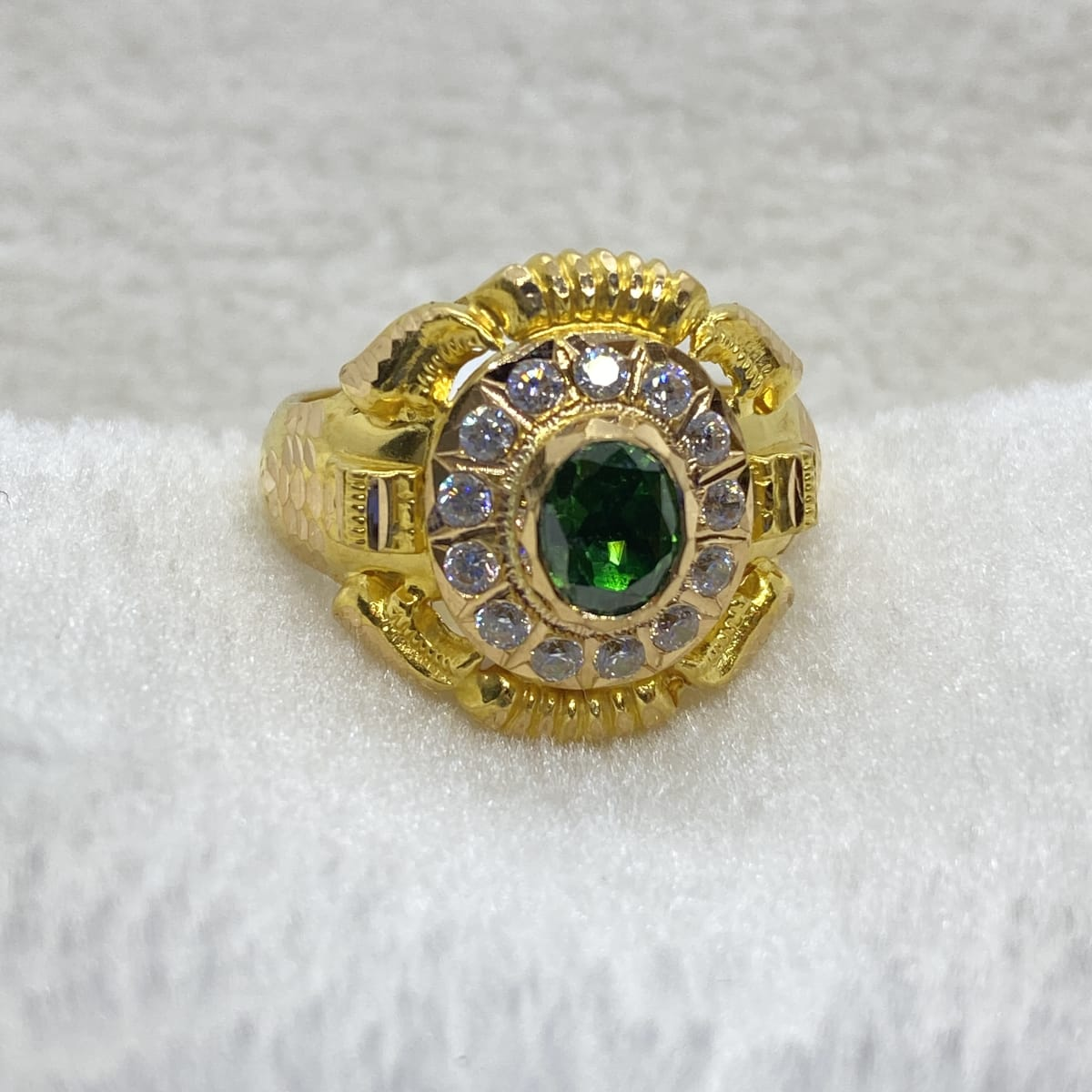 Fancy Green Stone Sonata Cz Gents Ring Gj0133