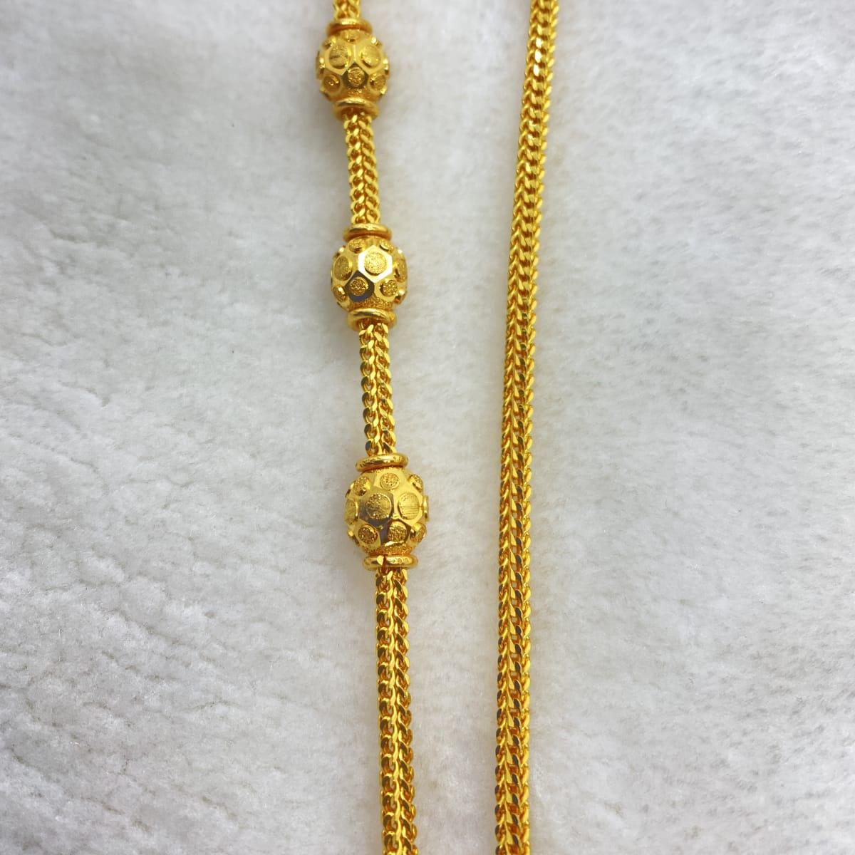 Fancy Long Plain Cutting Design Ball Tali Chain Gj0094