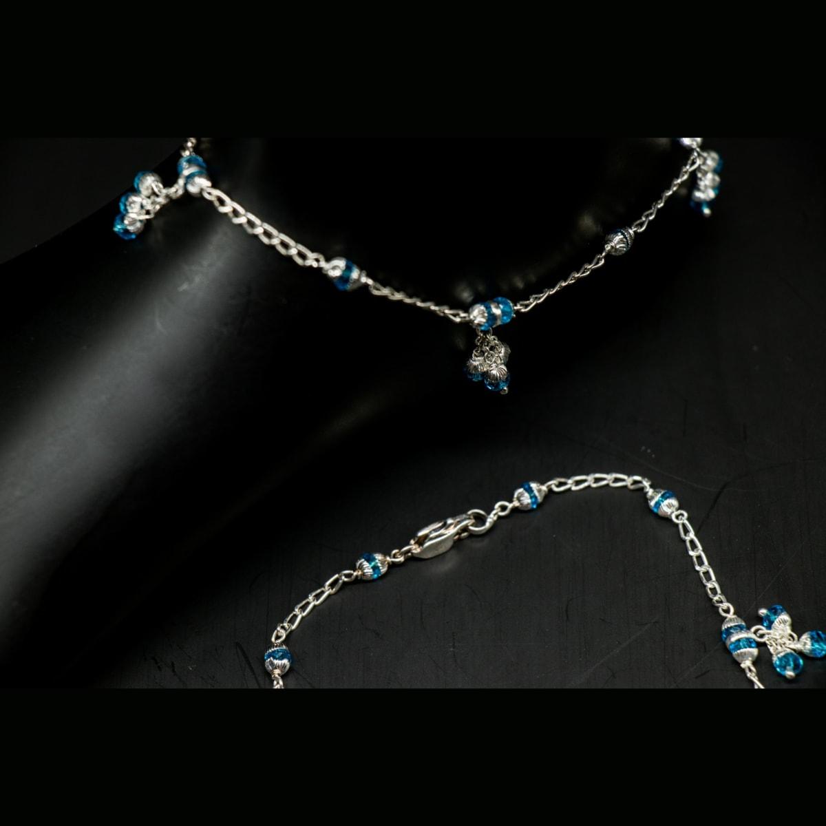 925 Silver Aqua Crystal Anklets