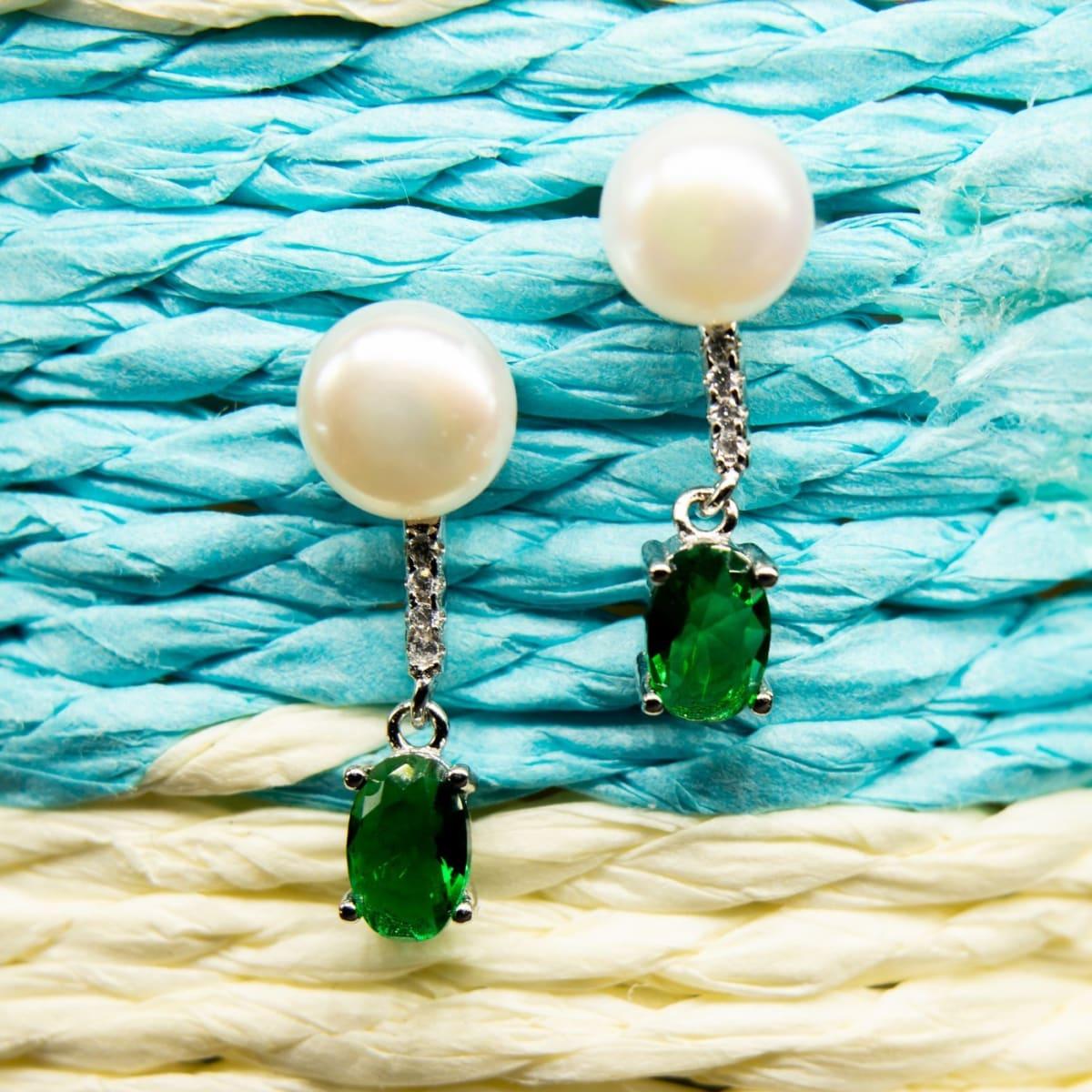 Silver Emerald Danglers 925 Silver