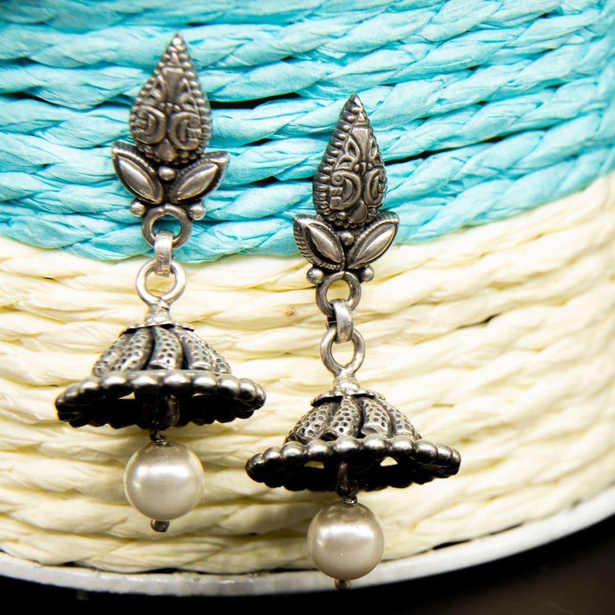 White Drop Silver Jhumlkas 925 Silver