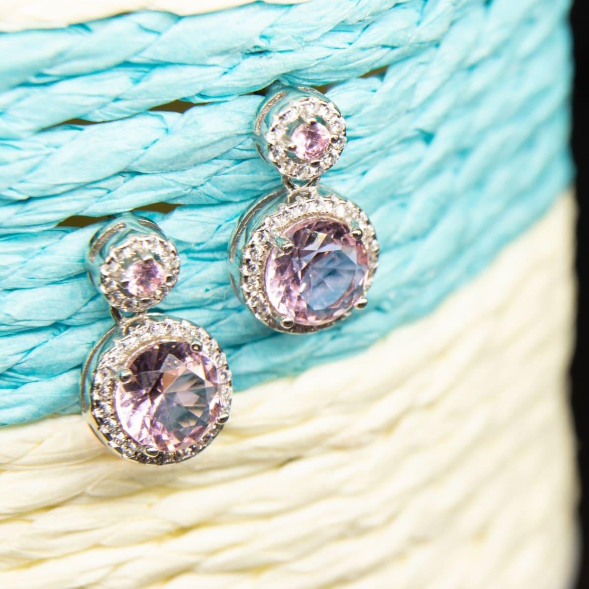 Zircon Purple Danglers 925 Silver