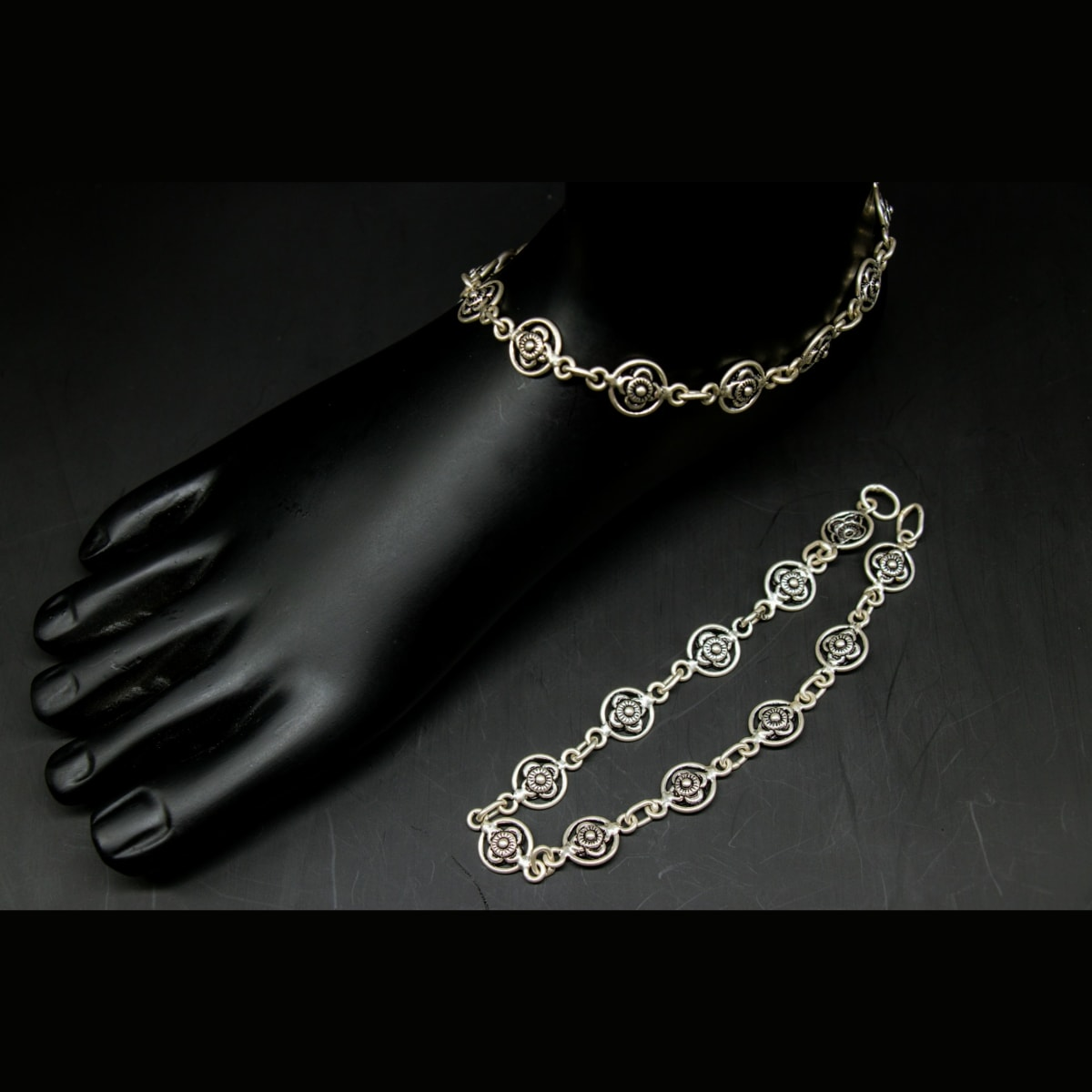 925 Silver Floral Anklets