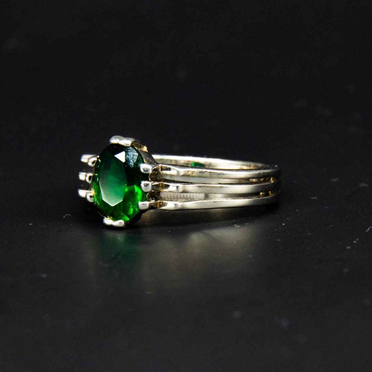 925 Silver Silver Emerald Ring