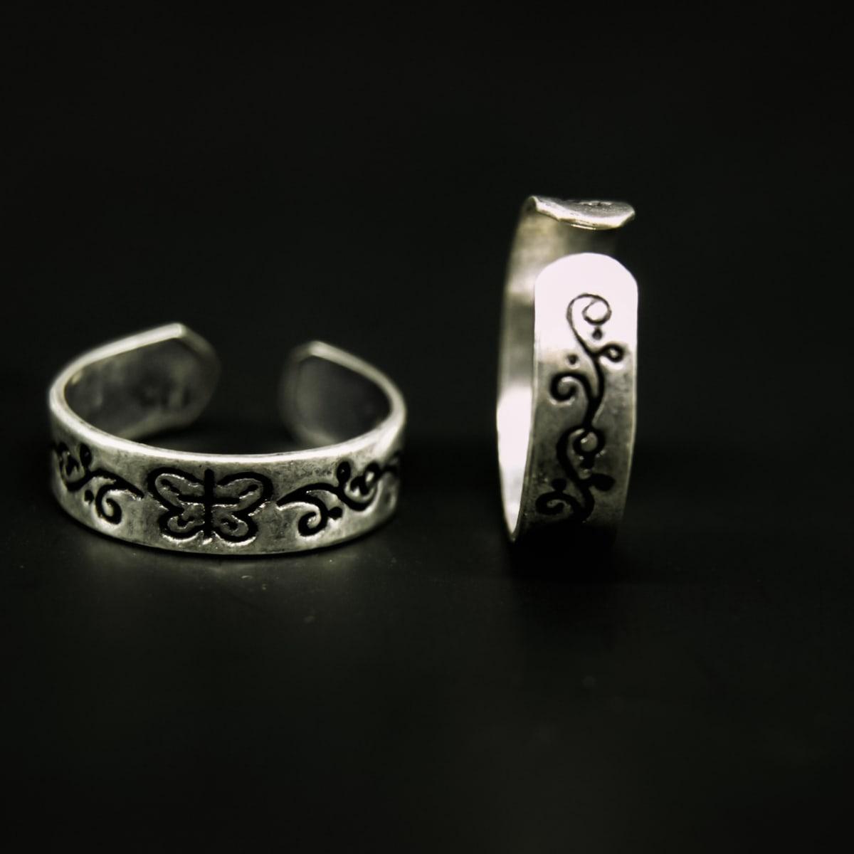 925 Silver Butterfly Toe Rings