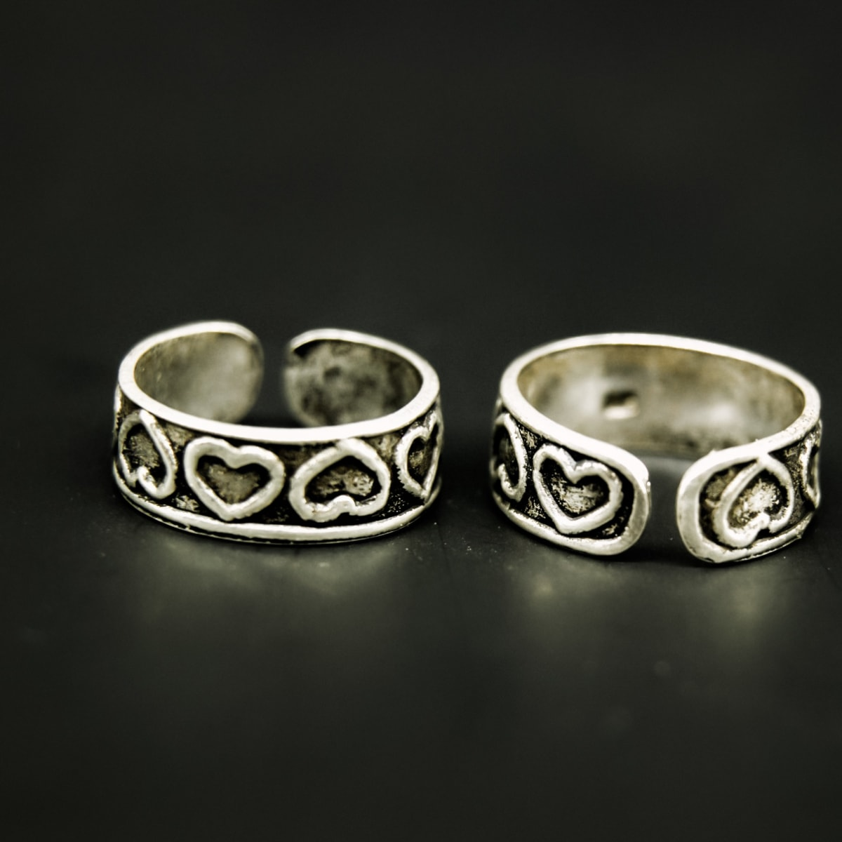 925 Silver Antique Heart Toe Rings