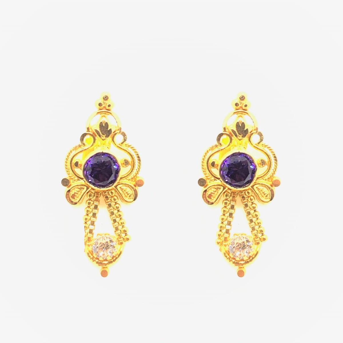 Purple Stone Cz Earrings