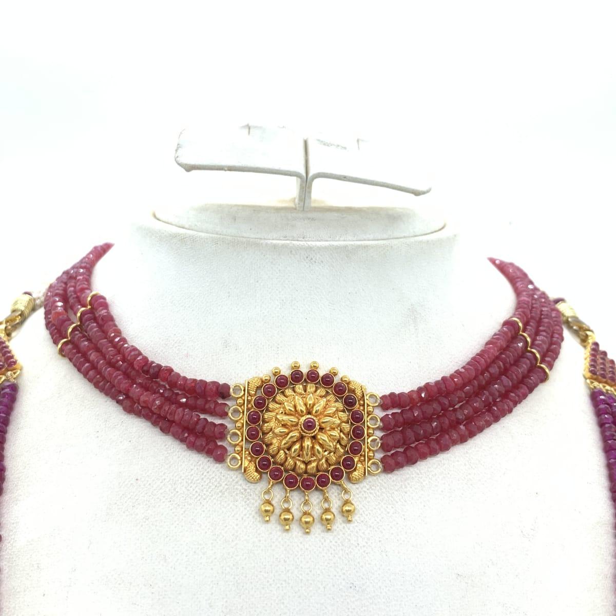 Floral Pink Stone Haram Necklace Set