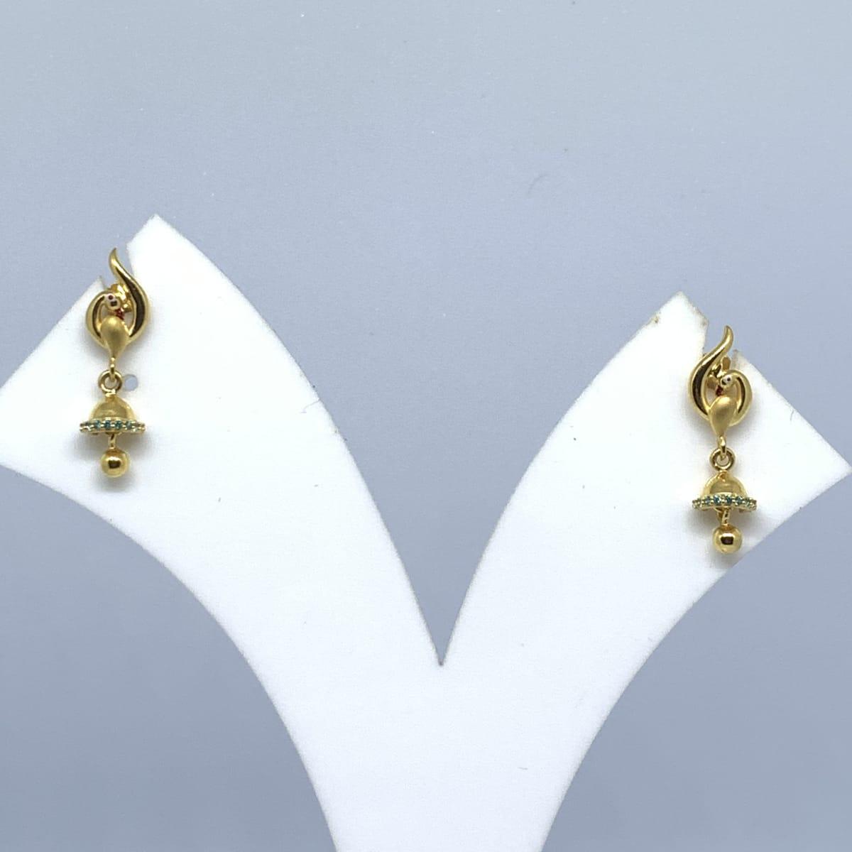 Peacock Cz Drop Gold Earrings