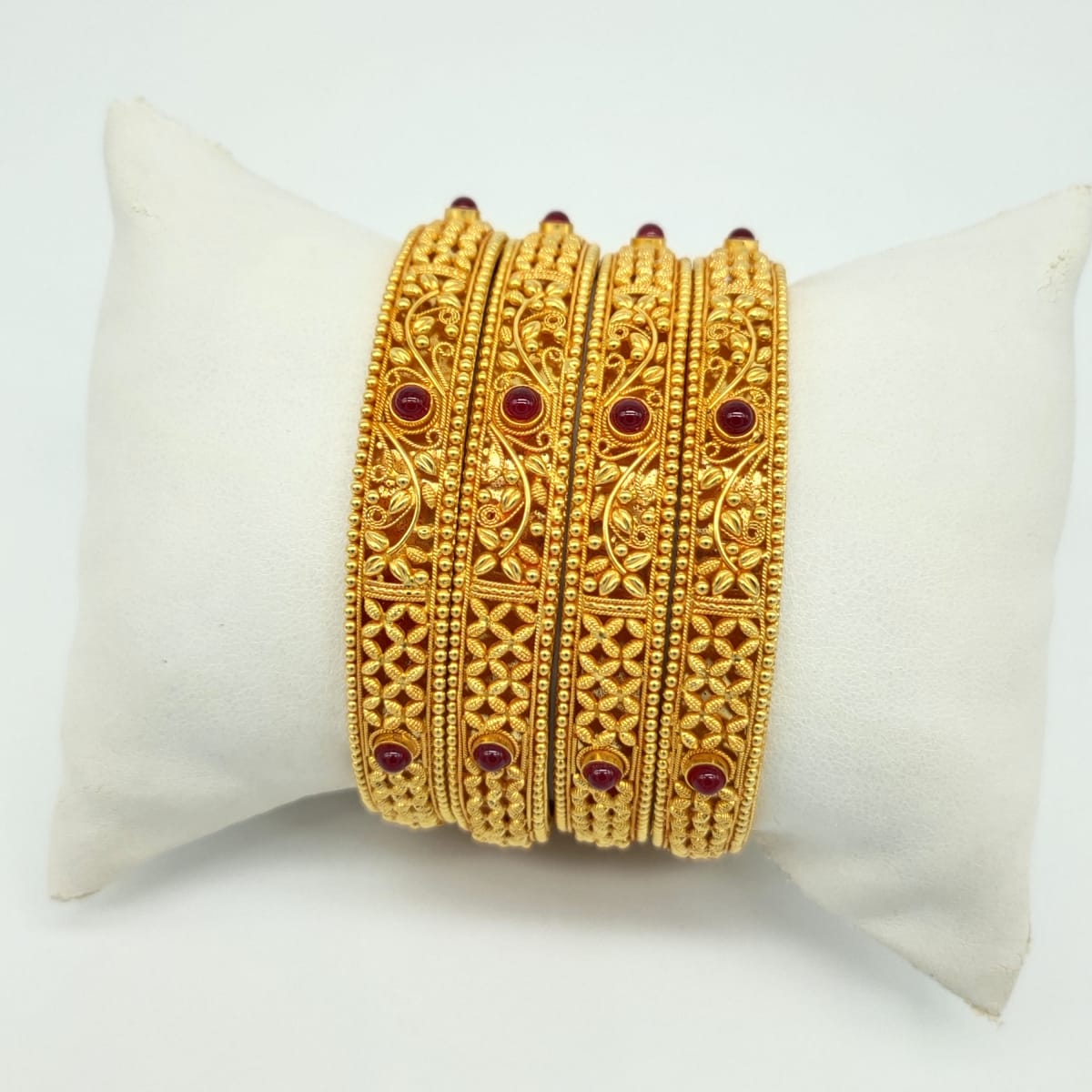 Antique Gold Bangles Simple Design - 4pcs