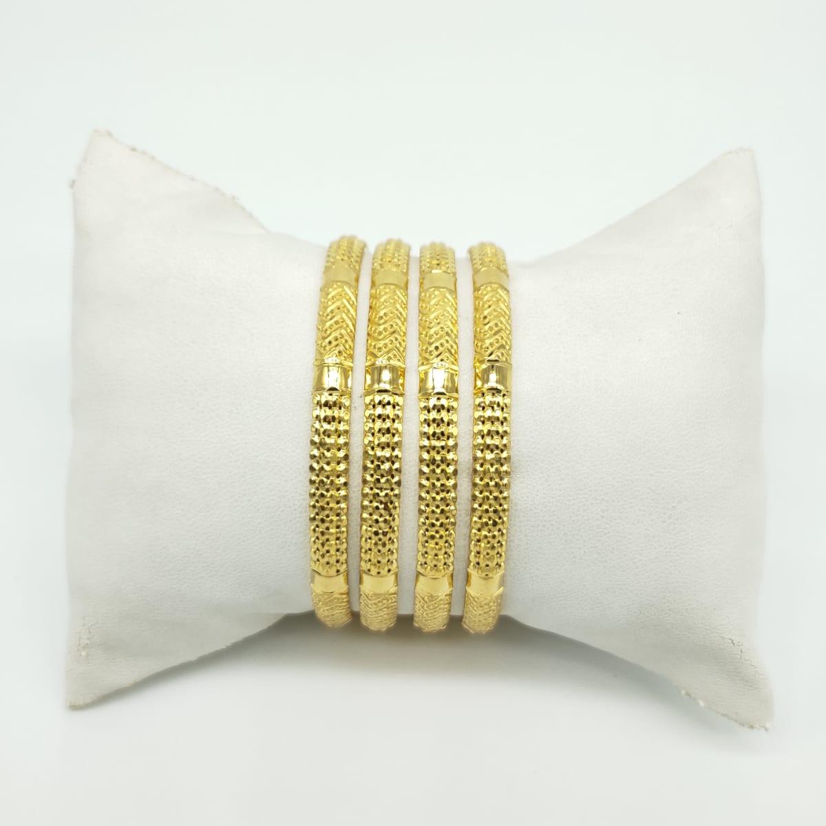 Gold Bangles Simple Design  - 4pcs