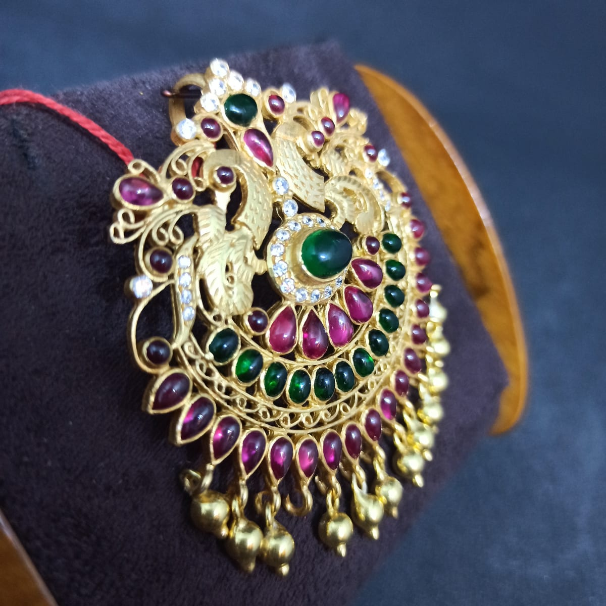 Red And Green Stone Peacock Pendants