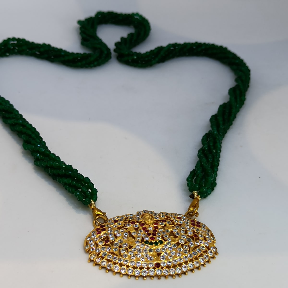 Green Mala Lakshmi Necklace