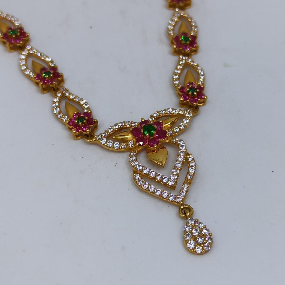 Floral Leaf Cz Necklace