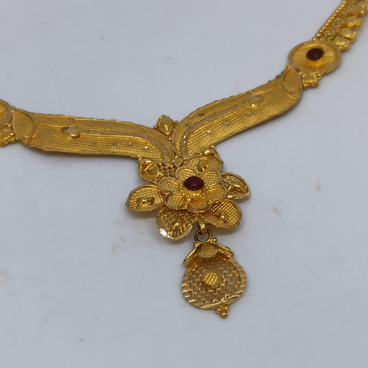 Floral Jali Gold Necklace