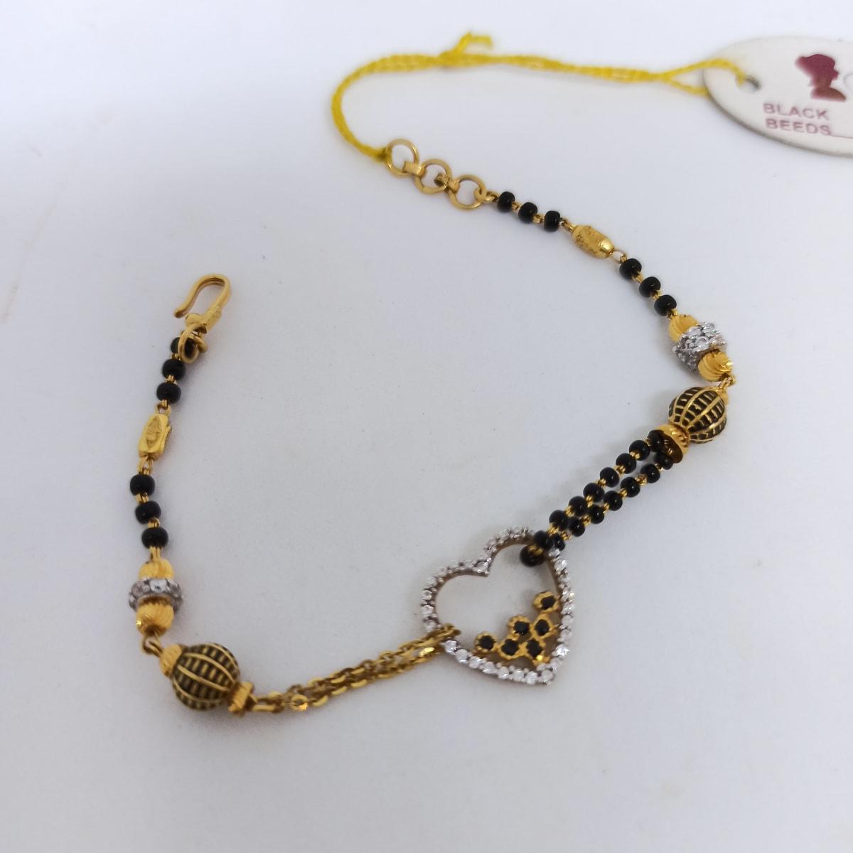 Black Bead Heart Bracelet