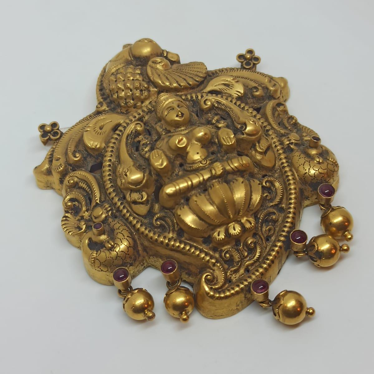 Lakshmi Antique Plain Gold Pendnat