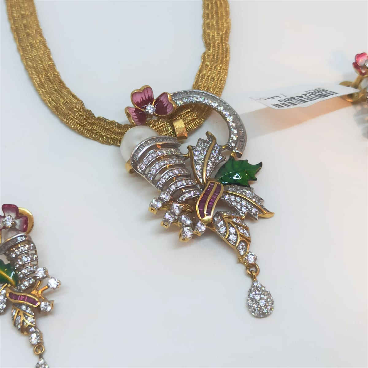 Floral Meenakari Cz Necklace