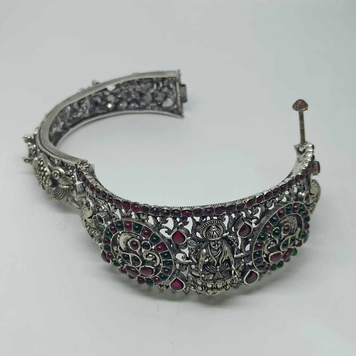 Lakshmi Kundan Antique Silver Kada