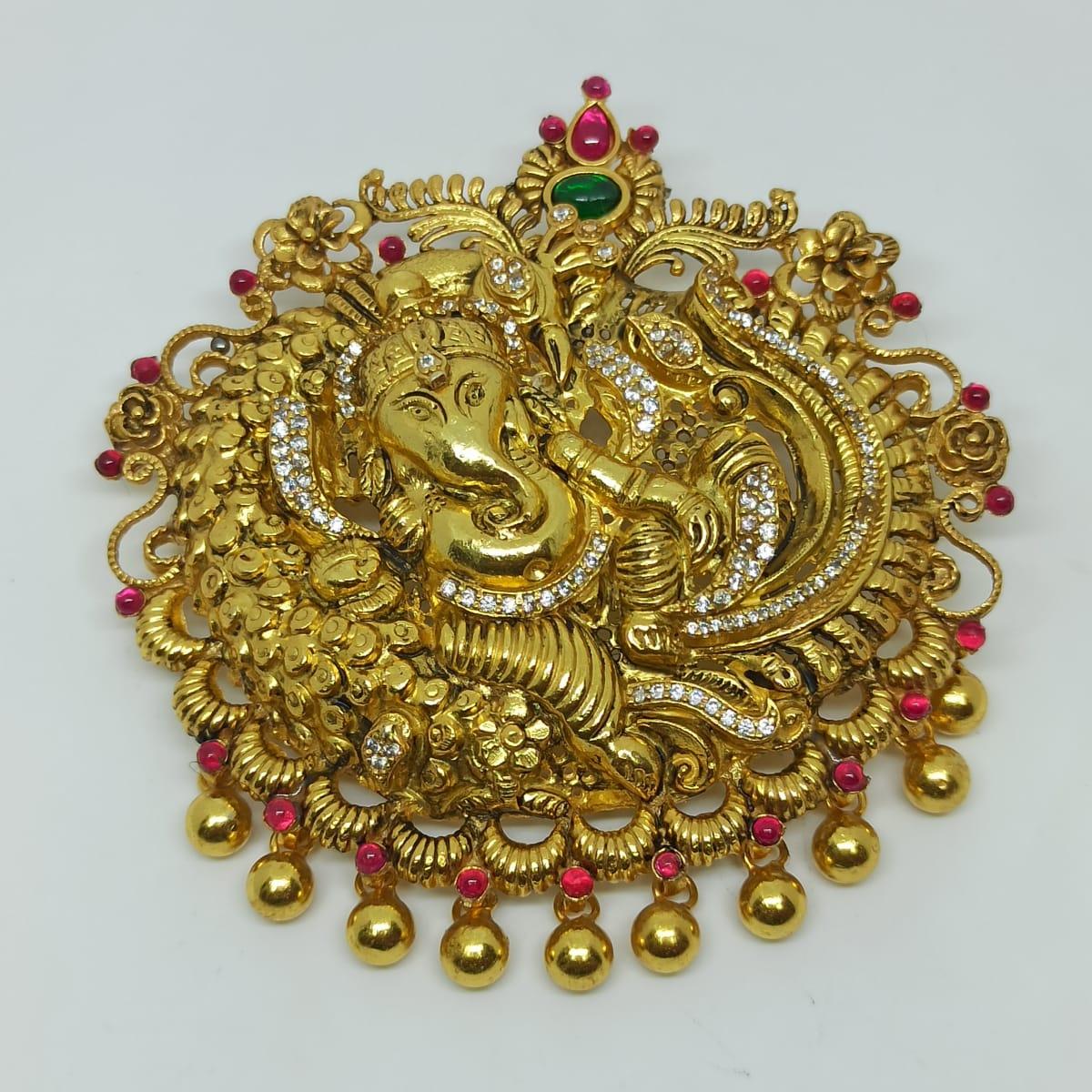 Ganesha Antique Cz Pendant