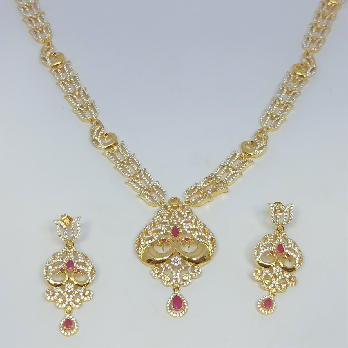Two Peacock Cz Necklace