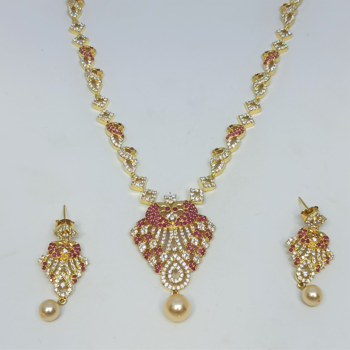 Mayura Cz Colorstone Necklace Set