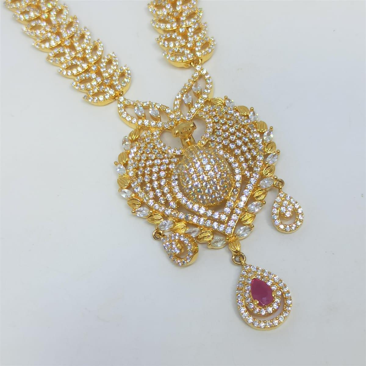 Peacock White Cz Necklace Set