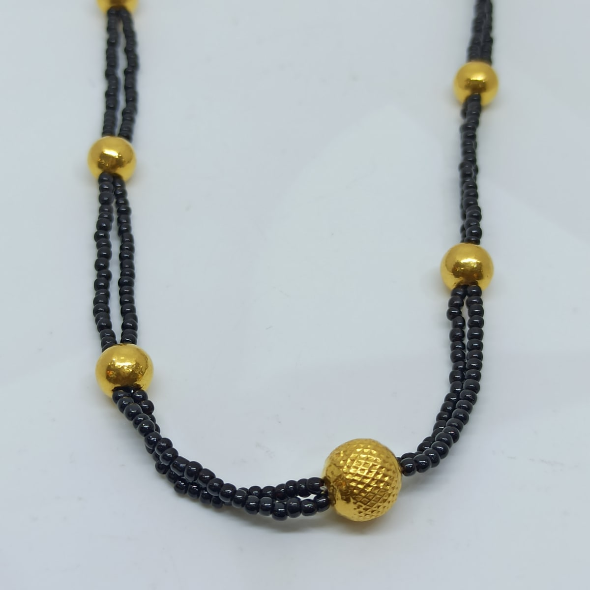 Black Bead Gold Ball Necklace
