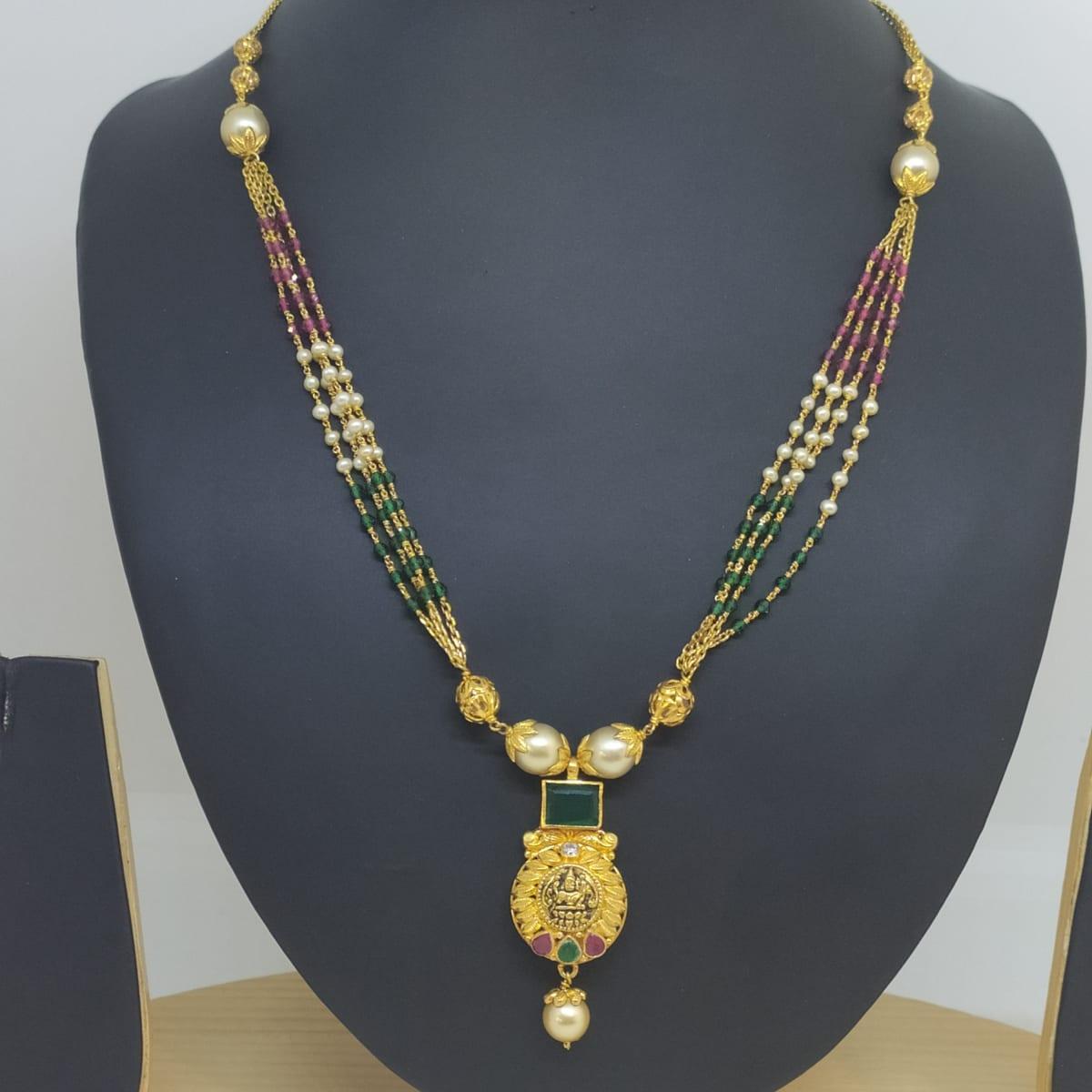 Tricolor Stone With Lakshmi Chain